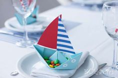 Red and blue nautical birthday party favors! See more party ideas at CatchMyParty.com!