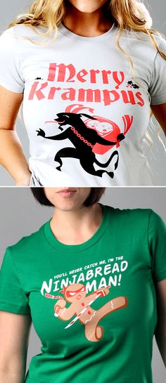 """Get used to hearing, """"Where'd you get that shirt? I love it!"""" """"Merry Krampus"""" and """"Ninjabread Man"""" graphic t-shirt for men, women and kids. Whether you're looking for a funny shirt this holiday season or need a clever gift for someone special, SnorgTees is a must."""