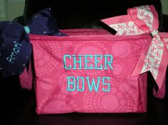 A good way to organize all those cheerleading bows... Thirty-One style!!