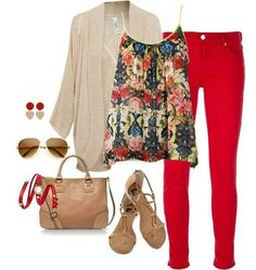 SPRING: red jeans, floral blouse, and pale layers