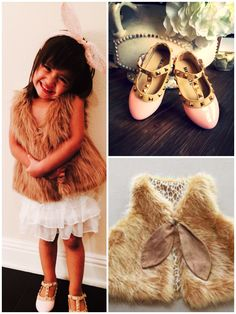 Omg!! Fur vest for kids!! This whole outfit, we love! #kidsfashion #pinkstuddedshoes #headband . To order visit www.modernechild.com .