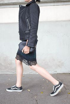 Sneakers and skirt on street style as one of the biggest trends this fall