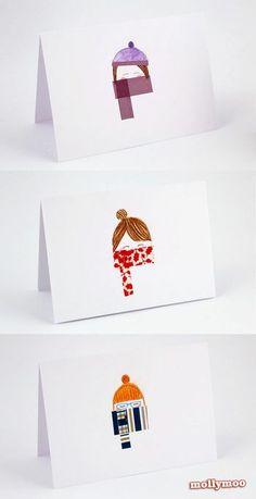 マスキングテープを女の子のマフラーに見立てて。冬ならではのキュートなカードに仕上がります。