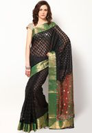 Bunkar Designer Supernet Cotton Zari Banarasi Border Red Saree - Buy Women Sarees Online   BU651WA91RZOINDFAS