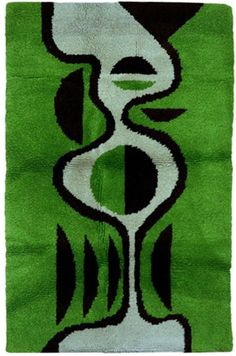 Beautiful Abstract Green And Black Rug