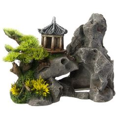 Top Fin® Asian Pagoda on Rock Aquarium Ornament Ocean Aquarium, Aquarium Stand, Aquarium Ornaments, Aquarium Decorations, Aquascaping, Goldfish Breeding, Lizard Tank, Reptile Decor, Fish Tank Accessories