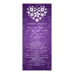 See MoreElegant Wedding Program Flowery Heart Purple Inviteso please read the important details before your purchasing anyway here is the best buy