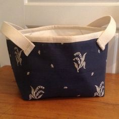 Beautiful Navy Fabric Basket with Lily of the Valley, 30 usd, etsy
