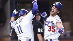 Dodgers Win, Dinosaur Mask, Cody Bellinger, Baseball Guys, Batting Average, Dodger Blue, The Outfield, Tampa Bay Rays, Spring Training