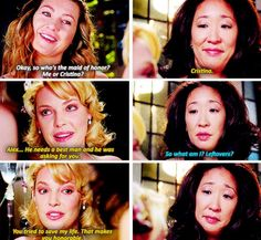 Meredith: So who's the made of honor? Me or Cristina? Izzie: Cristina. Alex...he needs a best man and he wsas asking for you. Cristina: So what am I? Leftovers? Izzie: You tried to save my life. That makes you honorable. Grey's Anatomy quotes