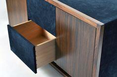 Lush combinations of materials in furnishings like suede and wood in Onavillu Casegood | Matthew Fairbank Design, New York
