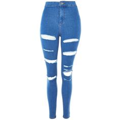 TopShop Moto Deep Blue Super Rip Joni Jeans ($75) ❤ liked on Polyvore featuring jeans, blue, calças, stretchy skinny jeans, blue ripped skinny jeans, destructed skinny jeans, super high-waisted skinny jeans and high waisted distressed jeans