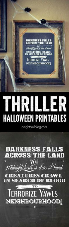 Thriller Halloween Printables - perfect and FUN printables for your Halloween decor from the Thriller intro by Vincent Price!