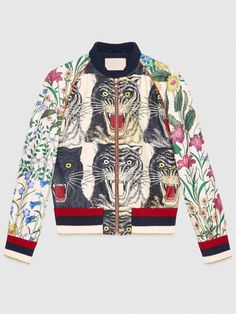 dbcf4e41b848a Vintage Floral Embroidery Tigers Pattern Patchwork Women Jackets