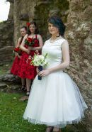Jemma dn her bridesmaids at her western style wedding at the Palace Stables, Armagh