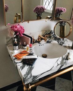 Bathroom Remodel On A Budget, Bathroom Remodel Small, Bathroom Remodel DIY, Bathroom Remodel Ideas Vanity, Bathroom Remodel Ideas Master. Interior, Home, House Interior, Home Deco, Diy Bathroom Remodel, Black And White Marble, Small Remodel, Bathrooms Remodel, Beautiful Bathrooms