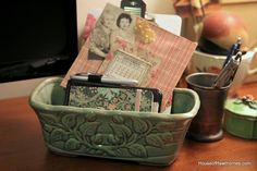 Using vintage planters in other ways.  Great way to repurpose those thrift store finds.  From houseofhawthornes.com