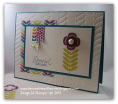 A fabulous card by Nicole! She used Madison Avenue, Bloomin' Marvelous, Sycamore Street dsp & buttons, and Vine Street embossing folder - all SAB products. Scrapbook Templates, Scrapbook Cards, Scrapbooking Ideas, Sycamore Street, Madison Avenue, Flower Cards, Cute Cards, Creative Cards, Stampin Up Cards