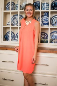 Elegant Allure Dress, Neon Coral