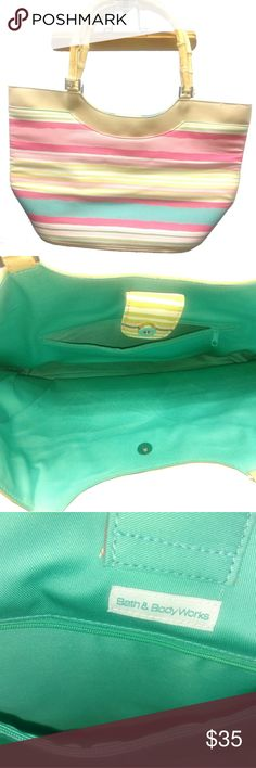 Bath & Body Works Spring Bag Purse Bamboo Handles Bath and Body Works Bags Totes