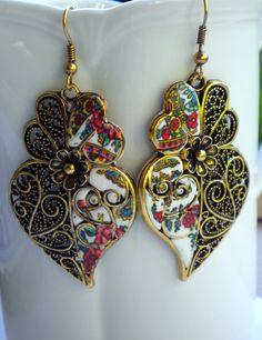 Portugal Filigree Heart Earrings with Traditional by Atrio on Etsy,