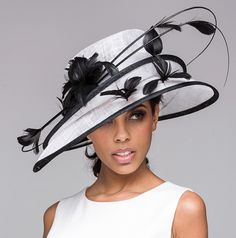 Show Stopper Derby Hat Show Stopper Derby Hat <br> Show stopper derby hat in sinamay straw with double tiered brim. Decorated with naked quills and feather-flowers. Kentucky Derby Outfit, Fancy Hats, Cool Hats, Sinamay Hats, Fascinators, Headpieces, Derby Outfits, Stylish Hats, Church Hats