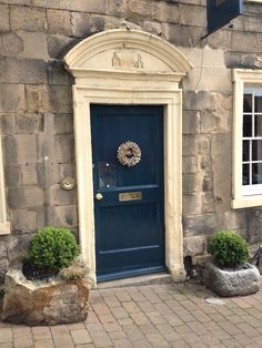 Front door in Barnard Castle.Get this look with Farrow and Ball's Hague Blue Gloss or Exterior Eggshell. Grey Front Doors, Painted Front Doors, Front Door Colors, Entrance Ways, Entrance Doors, Exterior Paint, Interior And Exterior, Interior Doors, Hague Blue