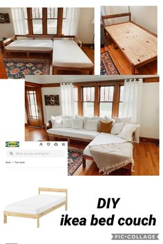 Living Room Decor, Living Spaces, Diy Couch, Ikea Bed, Home Upgrades, Home Renovation, Home Projects, Diy Furniture, Diy Home Decor