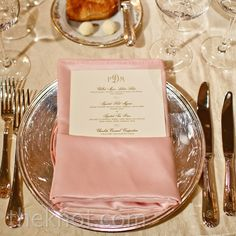 Pink and Silver Place Setting