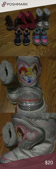 Toddler girl shoe and boot bundle Variety of shoes ,boots and pair of slippers diff brands all size 6  Princess boots are 5/6 Used condition Shoes Sneakers