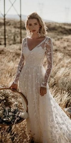 Polka Dot Long Sleeve Boho Wedding Dresses Lace Bohemian Backless Wedding Gowns - New ideas Romantic Bohemian Wedding Dresses, Western Wedding Dresses, Sexy Wedding Dresses, Bridal Dresses, Maxi Dresses, Bohemian Bride, Long Sleeve Wedding Dress Boho, Bohemian Weddings, Unique Weddings