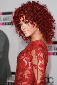 Rihannas wild crimson curls!