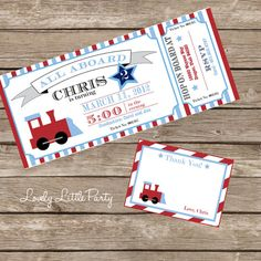 DIY Printable Train Birthday Invitation Kit - Invite AND Thank You Card included. $15.00, via Etsy.