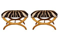 French Stools, Pair of zebra hide upholstered stools with nailhead trim on OneKingsLane.com