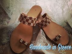 Handmade leather sandals, decorated with hotfix braid.