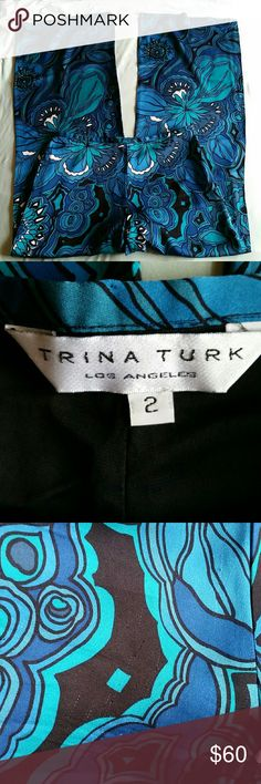 """Trina Turk Silk Floral Palazzo Pant size 2 31"""" inseam. There are a couple of minor runs in these pants, but none affect the wearability! 93% silk, 7% spandex. Trina Turk Pants Wide Leg"""
