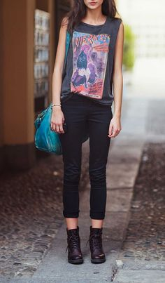 Roll up your jeans, add a graphic tee, and show off your boots for a biker-chic outfit.