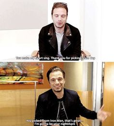 "HE JUST WENT FROM ""I'M A SWEETHEART"" TO ""I'M GONNA KICK YOUR ASS""  #sebastianstan #teamcap #teamironman"