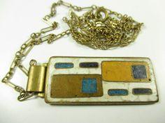 Stegemaille Anhänger Schibensky ? Emaille Vintage 50er enamel pendant Y28 N4