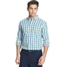 IZOD Classic-Fit Tattersall-Plaid Casual Button-Down Shirt - Men