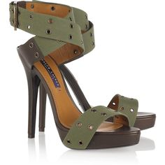 Ralph Lauren Collection Jesalin canvas sandals ($280) ❤ liked on Polyvore