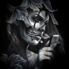 Chicano Art Art The Flower Chicanas Tattoo, Skull Girl Tattoo, Tattoos Skull, Body Art Tattoos, Tattoo Flash, Lettrage Chicano, Chicano Love, Chicano Art Tattoos, Thrasher