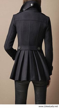 Burberry Black Trench Coat With Leather Leggings