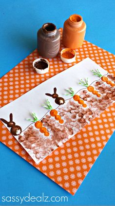 Fingerprint Carrot and Bunny Craft for Kids Fun  to go with Tops and Bottoms