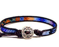 Bead Loom Bracelet Leather Wrap Bracelet Seed Bead by Aerieanna