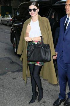 Miranda Kerr wearing Balenciaga Knife Over-the-knee Boots Shoes, Gucci Floral Brocade Mini Skirt, Hermes Birkin Bag in Black and Longines LA Grande Classique
