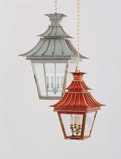 lantern lighting by designer Katie Ridder. The blue/gray one!