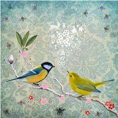 by fiona watson--soooo pretty- 2 birds w/ lacey background Nature Collage, Collage Art, Art Nature, Illustrations, Illustration Art, Bird Drawings, Bird Art, Cat Art, Nature