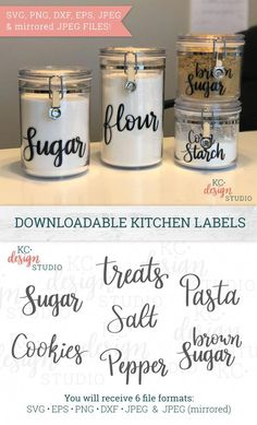 Kitchen Labels svg Pantry Decals Set of Canister Labels Food Labels Jar Decals Pantry Stickers clip art svg for Cricut Kitchen Labels, Pantry Labels, Kitchen Canisters, Food Labels, Kitchen Pantry, Kitchen Storage, Pantry Organization Labels, Labels For Jars, Pantry Ideas