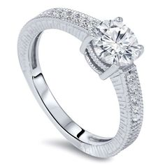 1/2CT Vintage Diamond Round Engagement Ring 14K White Gold Hand Engraved Antique Milgrain Accent Detail Size 4-9 by Pompeii3 on Etsy https://www.etsy.com/listing/163056275/12ct-vintage-diamond-round-engagement